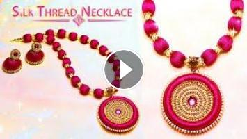 How To Make Beautiful Silk Thread Necklace And Earrings Diy